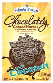 Yehuda Matzos Chocolatey Coated Matzos Chocolate Flavored with Coconut Kosher For Passover 5.65 oz.