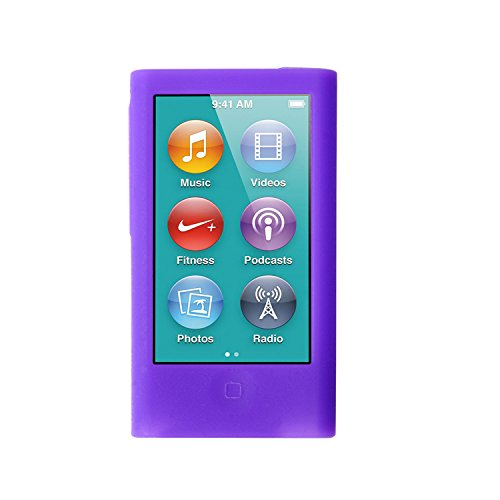 (ColorYourLife iPod Nano Silicone Cases Skins Covers for New iPod Nano 8th Generation 7th Generation with 1 Screen Protector and Cleaning Wipe (Purple))