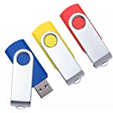 DAILUMI USB 2.0 Flash Drives, 3 Pack 16GB Swivel Thumb Drives Memory Stick with Led Light Indicator, Jump Drive for Fold Data Storage, Zip Drives, Pen Drive (Red, Yellow and Blue)