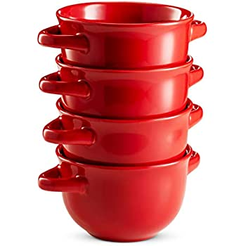 Soup Crocks with Handles, Ceramic Make, Soup, Chilli, by KooK, 22oz, Set of 4 (Red)