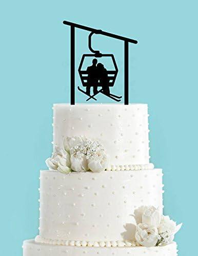 Winter Skiing Ski Lift Gondola Bride And Groom Wedding Cake Toppers Acrylic Wedding Cake Toppers Wedding Decorations Amazon Co Uk Kitchen Home