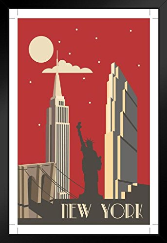 New York City NYC Big Apple Retro Art Deco Travel Art Print Framed Poster 14x20 inch