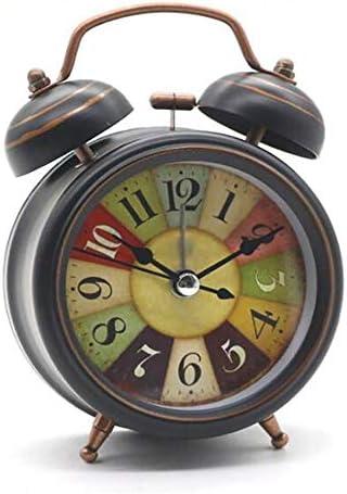 RMXMY レトロミュート目覚まし時計クリエイティブホームラウンド小さな時計デスクトップ時計寝室リビングルーム超静かなベッドサイドクロック大音量睡眠ファッション小さな目覚まし時計