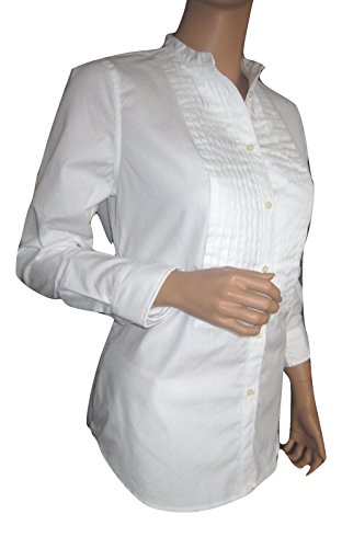 - LAUREN RALPH LAUREN Womens Long Sleeves Tuxedo Button-Down Top White 14