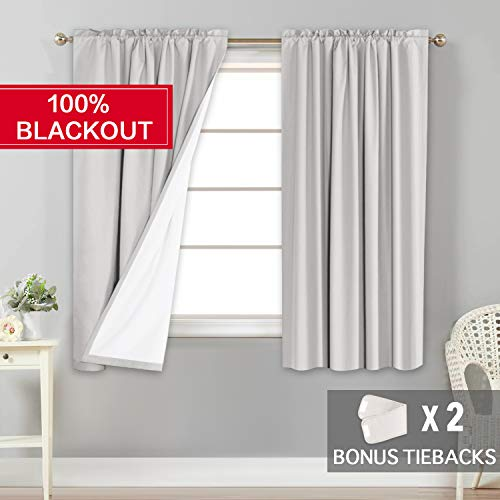 - Flamingo P 100% Light Blocking Curtains/Drapes/Draperies Full Blackout Curtains Pair with White Backing for Bedroom 63 inch Long, 2 Bonus Tie-Backs, Rod Pocket Natural