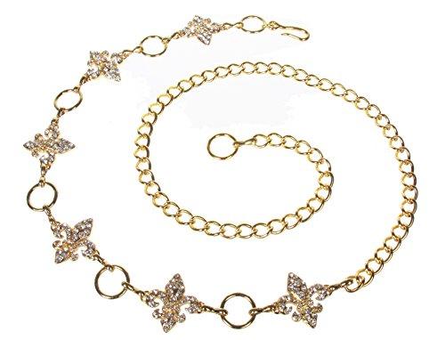 Ladies Rhinestone Fleur De Lis Metal Chain Belt Size: One-size-fits-all Color: ()