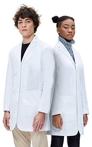 Dr. James College Essentials Lab Coat, Unisex, Tailored Fit, Multiple Pockets, 35 Inch Length DR13-M White