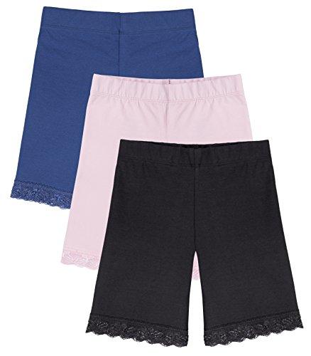 Caomp Girl's Bike Shorts (3-Pack) Underwear for Dresses, Certified Organic Cotton, Spandex, Tagless Bike Cotton Shirt