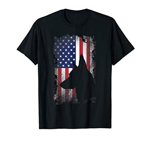 - German Shepherd American Flag Shirt USA Patriotic Dog Gift