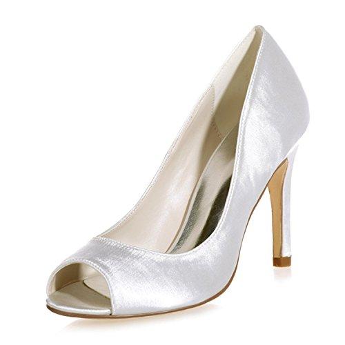 Clearbridal Womens Open Peep Toe Satin Pumps Heels Wedding Bridal Shoes ZXF5623-12 Ivory