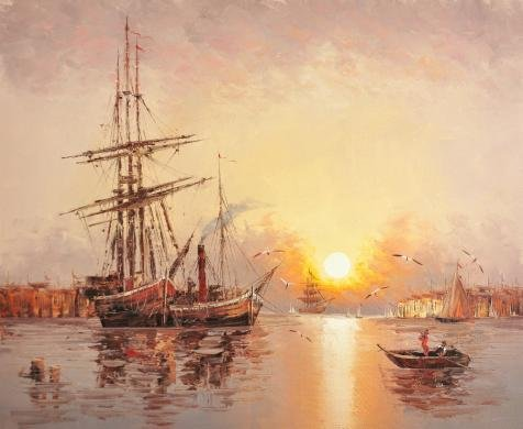 Oil Painting 'Wall Sunset Seascape With Sailing Ships And Sea Gulls', 18 x 22 inch / 46 x 56 cm , on High Definition HD canvas prints is for Gifts - Bulb Six Sea Gull