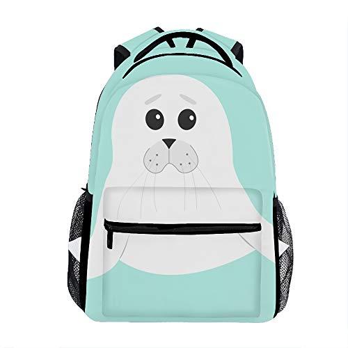 Cute Seal Pup Baby Harp Cartoon Character Backpack For School Shoulder Daypack Handbag ()