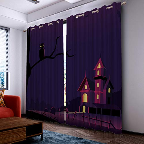 Prime Leader Curtains for Living Room- Darkening Thermal Insulated Window Treatment Curtains, with Grommet Home Decor Halloween Castle and Owl (2 Panels, 52 x 52 Inch Each Panel) ()