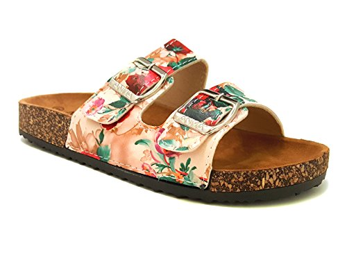 ANNA GLORY-100 WOMEN TRENDY CORK PLATFORM STYLE FLAT SANDALS WITH BUCKLES WITHOUT BOX NEW! (9 B(M) US, FLOWER)