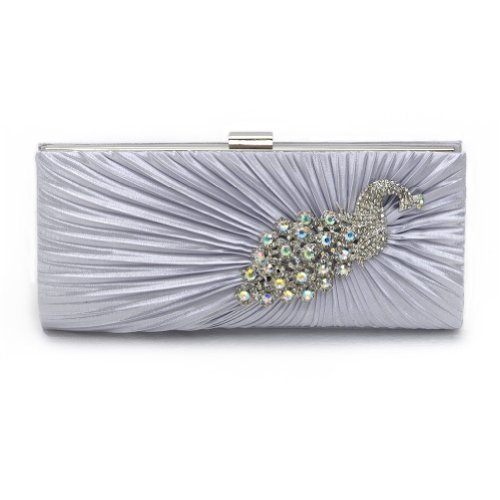 Stylish Beautiful Elegant Graceful Women Smooth Silk Rhinestone Beaded Peacock Embroidery Clutch Purse Hard Case Handbag Evening Bag for Lady (Silk Evening Shoes)