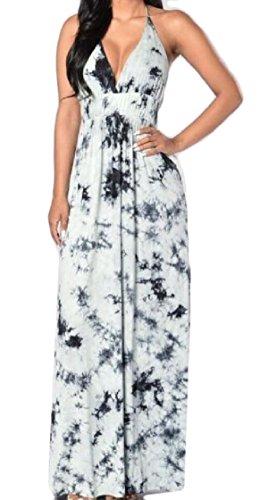 Women Beach Plunge Neck Smocked Coolred Sexy Waist Backless Halter Print V Black Dress Sling Flower 7wnxqazdn
