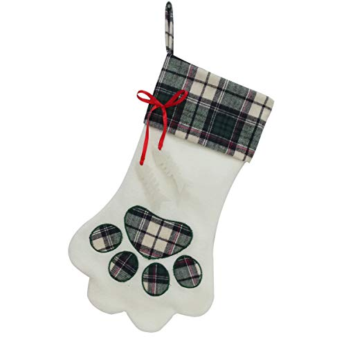 SherryDC Cat Paw Christmas Stockings, Plush & Plaid Hanging Socks for Holiday and Christmas Decorations, Green ()