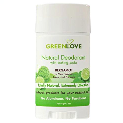 Green Deodorant - GREEN LOVE Natural Deodorant with Baking Soda, Aluminum Free, Bergamot Scent for Men, Women, Teens, and Pre-teens