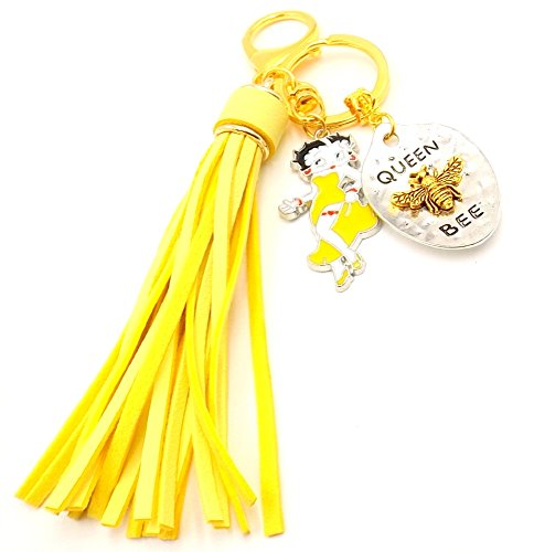 (Queen Bee Betty Boop Yellow Tassel Ring Fob Gold-toned Car Purse accessory