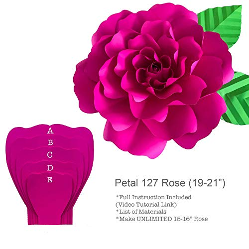 Petal 127 Rose Paper Flower Template/Stencil to Create Giant Paper Flowers ()