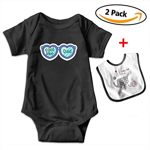 Robprint Golden Cool Dad Heart Glasses Baby Boys' Girls' Cotton Short-Sleeve Onesies & Baby Bibs (Spun Heart Glass)