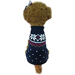 Puppy Clothes,Haoricu Christmas Snowflake Pet Spring Winter Shirt Small Dog Cat Pet Clothing Dog Vest Dog Hoodie Outwear Custome Apparel (XS, Navy)