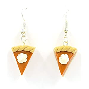 "Best Wing Jewelry Halloween Thanksgiving Fall Season""Pumpkin Pie"" Polymer Clay Earrings (Braided Crust Edge)"