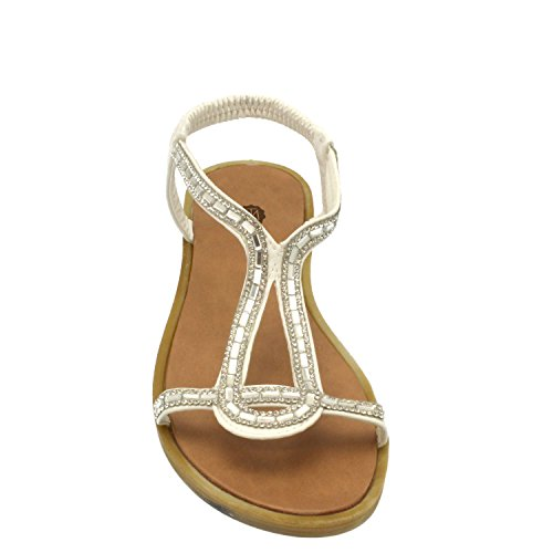 TM Sandals Cathy Blancas Diamante Sandals