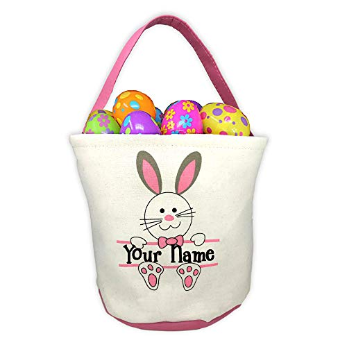 Personalized Pink Easter Basket with Bunny Rabbit and Name Banner Custom Egg Hunt Tote Bag - Your Choice of Free Name]()