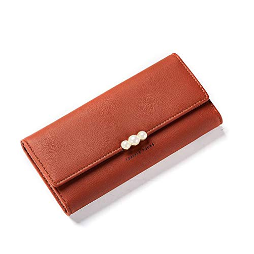 Women Wallet Clasp Ladies Long Purse Card Holders Soft Pu Leather Clutch Phone Bag by WUDEF