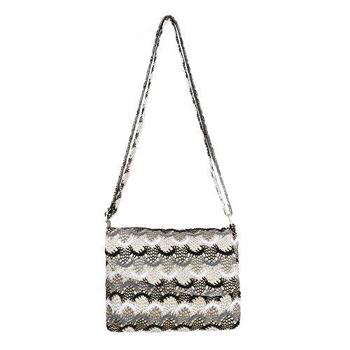 Ital-Design - Bolso al hombro de Lona para mujer Schwarz Multi