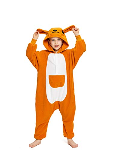 NEWCOSPLAY Unisex Children Animal Pajamas Halloween Costume (105#, Kangaroo)]()