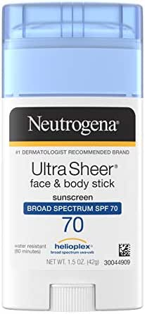 Neutrogena Ultra Sheer Non-Greasy Sunscreen Stick for Face & Body, Broad Spectrum SPF 70.