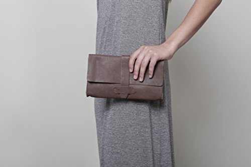 Handcrafted Large Unique Women's Designer Classic Dark Brown Leather Wallet - Wallet Leather Brown Sleek Flap