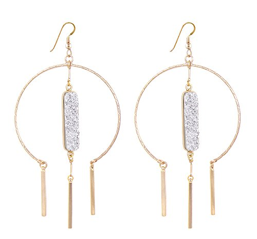 Lucky Star Jewels Women's Graphite Druzy Roma Earrings Lucky Star Jewels