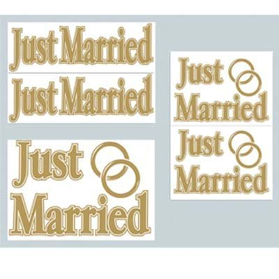 Just Married Auto Clings - Beistle Home Party Decoration Just Married Auto-Clings (5 Count)- Pack Of 12