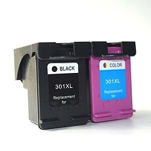 oguan remanufacturados cartuchos de tinta para HP 301 XL 301 XL V1 negro y color juego de alta capacidad cartucho de tinta Envy 4507 e-AiO 4643 (1 ...