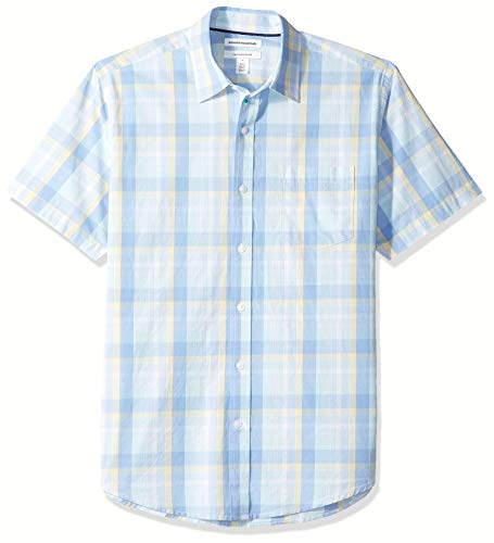 (Amazon Essentials Men's Regular-Fit Short-Sleeve Plaid Casual Poplin Shirt, Aqua/Blue,)