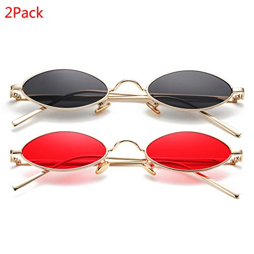 Vintage Small Oval Sunglasses for Women Men Hippie Cool Metal Frame Sun Glasses (Gold/Black + Gold/Red) ()