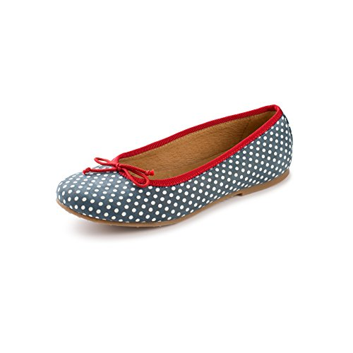 Atlanta Mocassin Girl's Slip On Ballet Flat Shoes (33 M EU, Blue White Polka Dot) by Atlanta Mocassin