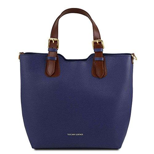 Para Bolso Tuscany Leather Tl141696 Azul De Piel Compact Mujer Hombro Al qUq6w04x