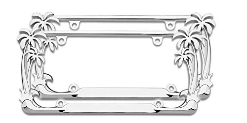 Cruiser Accessories Chrome Palm Tree Frame (2 Frames) (License Plate Frames Palm Trees)
