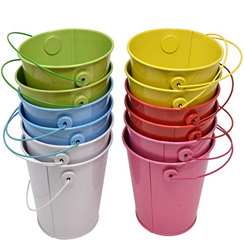 "12 Mini Tin Metal Pail Buckets 4.125"" in Assorted Colored Easter Small Pails with Handles for Party Favors Candy Centerpieces or Garden Includes 2 of 6 Colors Red Yellow Green Blue White and Pink -"