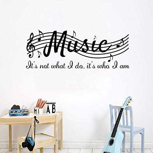 - Fymural Musical Note Wall Decals - Music Sign Letter Wall Stickers Quote Removable Vinyl Poster for Livingroom Kid Baby Nursery DIY Decoration Home Decor 39.4x15.7,Black