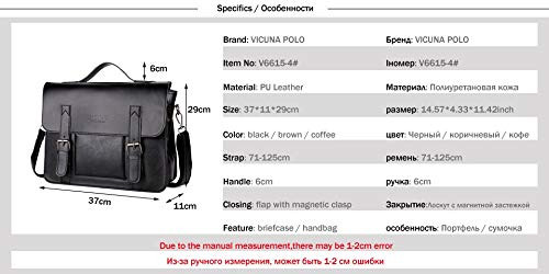 a9ad3a305 Qwert Business Men Bag Double Belt Decor Brand Ol Leather Men Briefcase Bag  Lawyer Doucument Bag,Black: Amazon.co.uk: Luggage