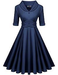 Womens 50s Vintage V-Neck Half Sleeve Pleated Swing Dress
