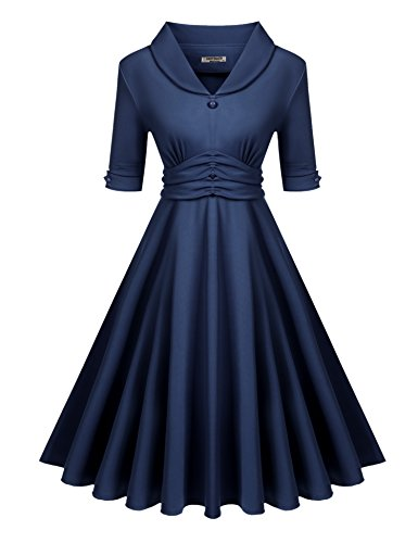 Hotouch Women Shawl V-Neck Half Sleeve High Waist Ruched Flared Swing Midi Dress (L, Navy (Ruched Shawl)