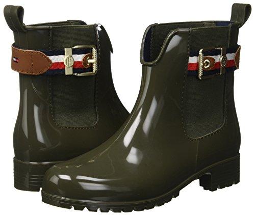 Boot Wellington Belt Women''s 302 Green Rain Tommy Hilfiger military Corporate xXqW1Y