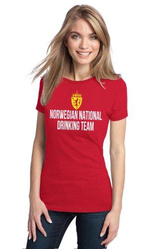 NORWEGIAN NATIONAL DRINKING TEAM Ladies' T-shirt / Funny Norway Beer Tee