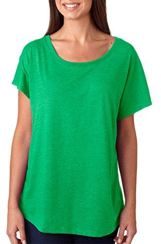 Green Ladies T-shirt (Next Level Apparel 6760 Lady Tri-Blend Dolman Tee Shirt - Envy44; Large)